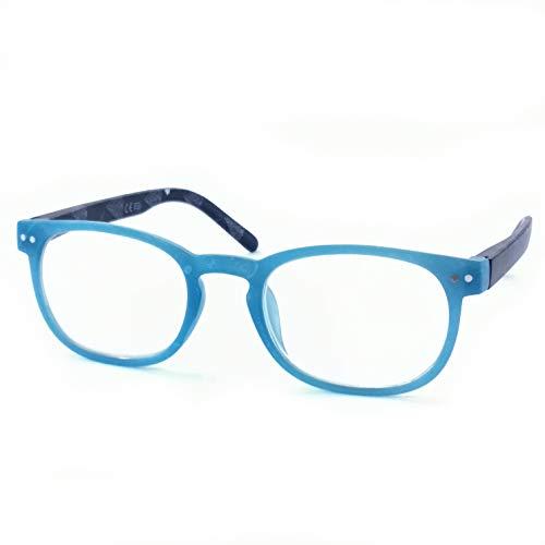 Marc Andrews Bunte Lesebrille Lesehilfe mit Federscharnier drei Farben wählbar farbig modisch Frühlingsbrille (2.5, blau)