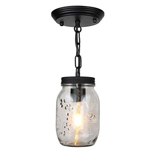 Mason Jar Restaurant (Vintage Industriell Pendelleuchte Mason jar Lampe Retro Glas Lampenschirm Deckenlampe Schwarz E27 Eisen Decken Licht für Loft Foyer Flur Küche Treppe Esszimmer Schlafzimmer Kronleuchter)