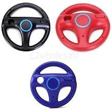 SLB Works Brand New 3x Game Steering Wheels Black+Red+Blue For Wii Mario Kart Racing