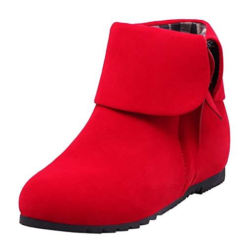 Chelsea Boots Damen Stiefeletten Wildleder mit Absatz Reißverschluss 2,5 cm (43 EU, Rot)
