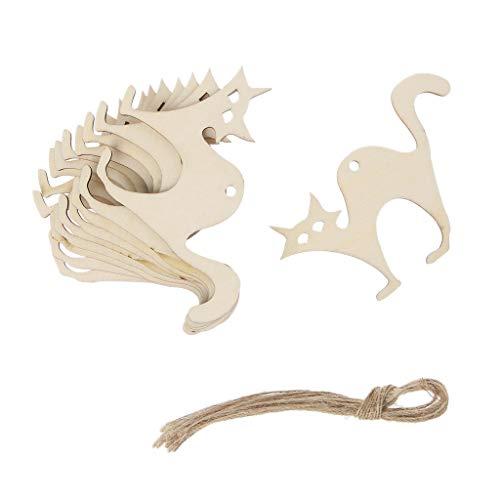 10 Stücke Holz Halloween Katze Hängen Anhänger Dekoration DIY Ornament Mit Seil