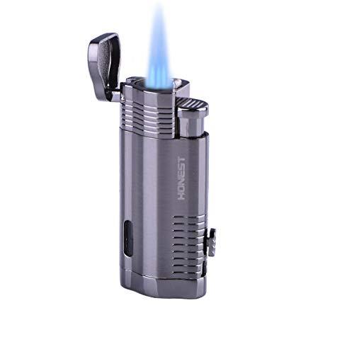Aomiok Encendedor, Resistente al Viento Ajustable 3 Turbo Jet llama Encendedor, Encendedor de Tubos, Encendedor de Cigarrillos, Encendedor de Gas con una caja de regalo de lujo