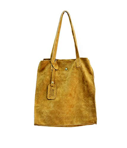 Oktradi® Damen Shopper Schultertasche Handtasche Ledertasche Laptoptasche Beutel 30 x 34 x 11 cm Made in Italy (Cognac) (Laptop-tasche Von Gucci)