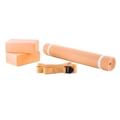 Yoga Set 4-tlg. Inkl. Matte, Blöcke, Gurt, Übungsposter, Orange