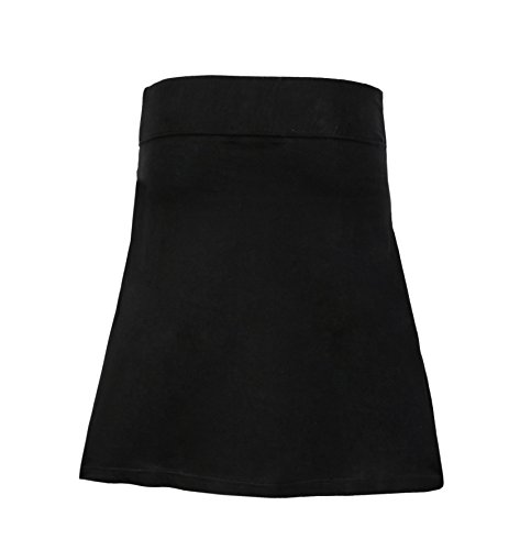 Ladies Cotton Mini Skirt With an Elasticated Waistband and colorful Flower Embroidery -(Black -SN1169-M)