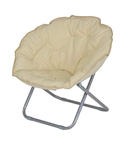 Enrico coveri contemporary poltrona moderna moon pieghevole in acciaio e tessuto imbottito, sedia ideale per giardino, salone e camera da letto (beige)