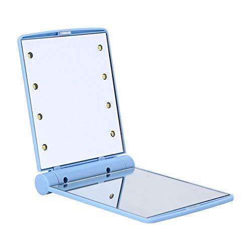 Holidaysummer Faltbarer Kosmetikspiegel, tragbar, kompakt, mit 8 LED-Lichtern, Blau