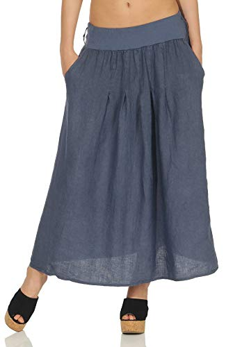 Malito donna maxi gonna lino elastico in vita 8693 (color di jeans)