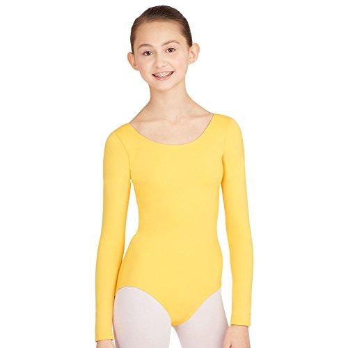 Mädchen Baumwolle Langarm Trikots dehnbar Tanz / Gymnastik / Ballett Sport Farbe & Größen(Girl's Longsleeve Bodysuit) (7-8 Jahre(Years), Gelb(Yellow))