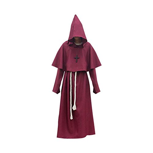 CN Halloween Cosplay Kostüm Alten Mittelalterlichen Mönch Gewand Mönch Anzug Hexe Kostüm Priester Cos Kleidung,Weinrot,M