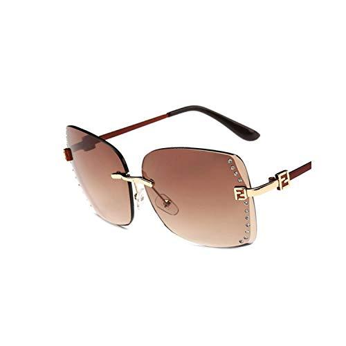 Sportbrillen, Angeln Golfbrille,New Big Frame Women Sunglasses Fashion High Quality Gradient Women Rimless Sun Glasses Female Brand NEW Mirror UV400 Multi 02