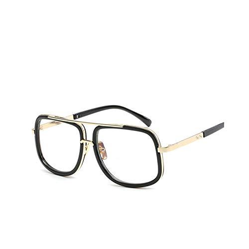 Sportbrillen, Angeln Golfbrille,NEW Fashion Big Frame Sunglasses Men Square Fashion Glasses For Women High Quality Retro Sun Glasses Vintage Gafas Oculos 7-Black-Transparent