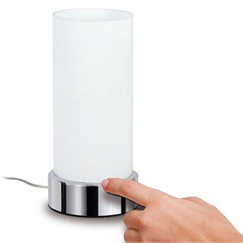Paulmann 770.29 Pinja Tischleuchte touch max.1x40W E14 Chrom/Opal 230V Metall/Glas 77029 Nachttischlampe Nachtlicht (Opalglas-tischleuchte)