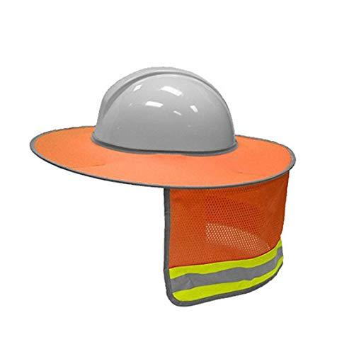 Sun Shade Neck Shield Sonnenschutz mit Reflexstreifen und gut sichtbarem Mesh-Design für Schutzhelme/Helme (Farbe: Orange) ()