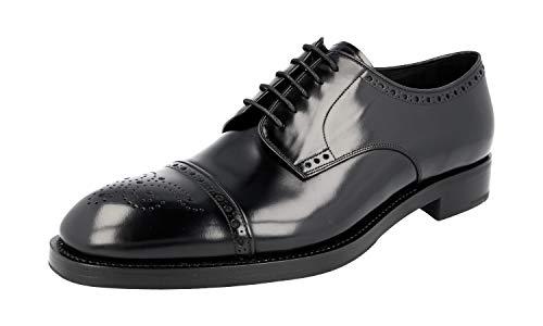Prada 2EA134 Herren Business-Schuhe aus gebürstetem Spazzolato-Leder, Schwarz (schwarz), 45 EU - Prada Kleid Männer Schuhe