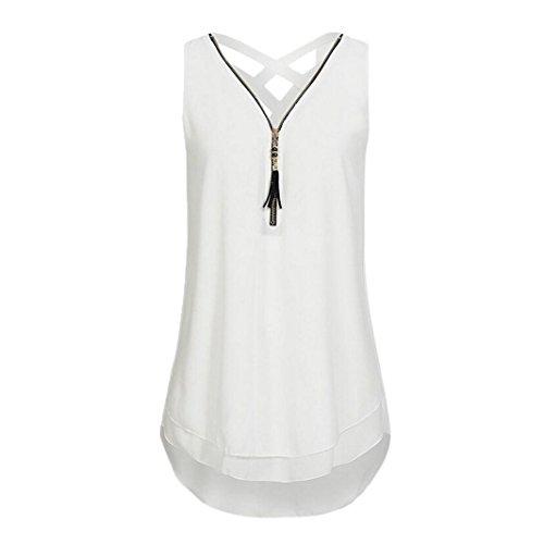 OverDose Damen Sommer Ärmellos T-Shirt Hemd Frauen Lose Tank Tops Kreuz zurück Saum Gelegt Reißverschluss V-Neck Tops(Weiß,EU-40/CN-M) (T-shirt V-neck Floral)