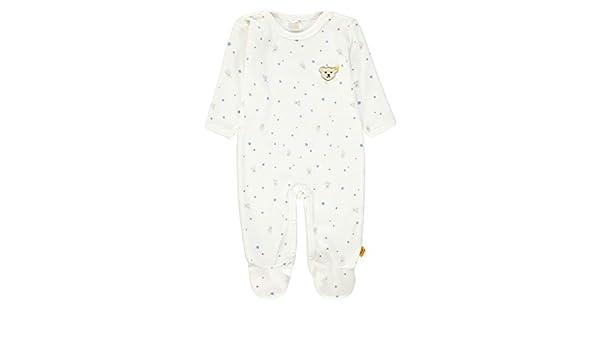 Steiff Baby Nicki Strampler//Einteiler mit Sternen und Teddy,wei/ß-blau 6846281
