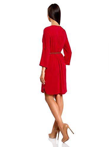oodji Ultra Femme Robe en Viscose avec Ceinture Rouge (4500N)