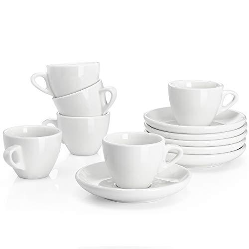 Sweese 401.001 6-teilig Espressotassen Set aus Porzellan, Dickwandige Kaffeetassen mit Untertasse, 75 ml