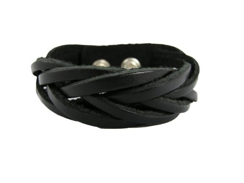 BrownBeans, Casual Wear Braided Black Leather Bracelet for Women, Boys, Small Wrist (LBCT5041)
