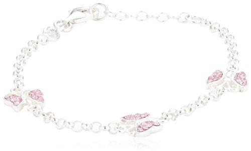 Zeeme for Kids Kinder Armband Silber 925 Sterling Silber Schmetterling 16/14cm Kristall pink 299260046-16-1 (Schmetterlings-armband)