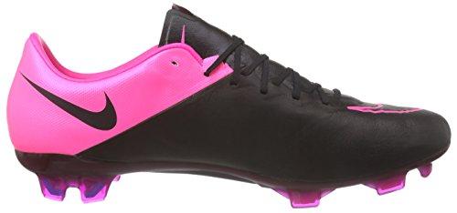 Nike Mercurial Vapor X Lthr FG, Chaussures de Football Homme Noir - Schwarz (Black/Black-Hyper Pink-Hyper Pink 006)