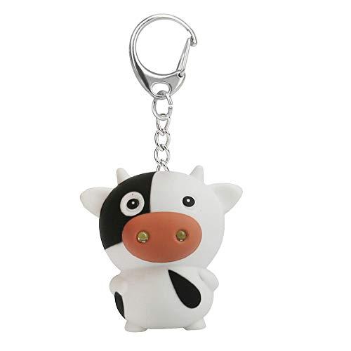 Skryo Cute Cartoon Cow Keychain mit LED Licht Sound Keyfob Kinder Spielzeug Geschenk -