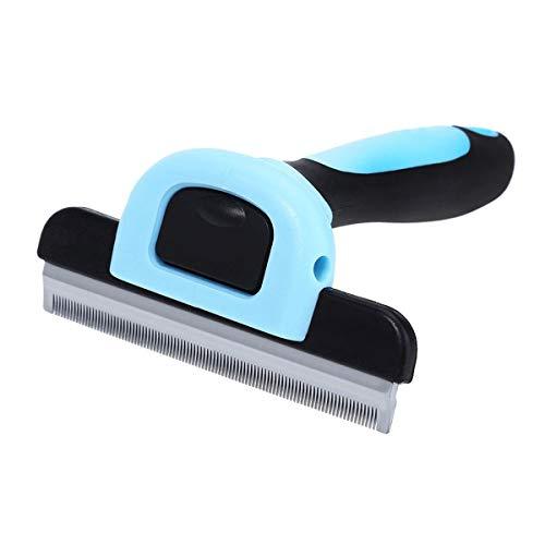 Haokaini Pet Hair Trimmer, Hund Katze Welpen Fell Tredding, Pflege Dematting Rake Comb Brush Tool für Lange gerade Haare (Color : Blau, Size : S) -