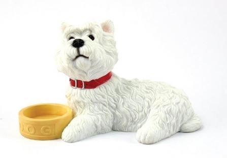 West Highland White Terrier, liegend, mit Schüssel Dekofigur