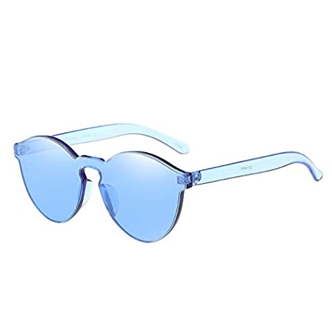 Toamen Women Fashion Candy Colored Cat Eye Shades Sunglasses Integrated UV Glasses (Blue)