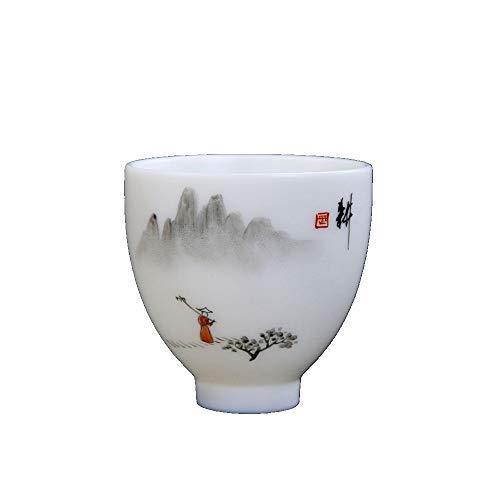 Ddcnl Boutique Weiße Jade Porzellan Handgemalte Kleine Teetasse Chinesische Kung Fu Tee-Set Master Cup Keramik Teeschale Teaware Drinkware, Weiß (Kleine Weiße Tee-cup-set)