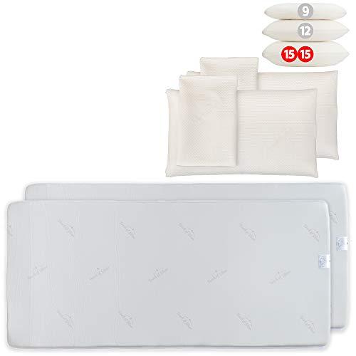 Probiotic Vorteilsset: 2 Argentum+ Nackenstützkissen (80x40x15cm) mit 2 Matratzenauflagen (90x190cm), je aus viscoelastischem Gelschaum, mit Silberionen
