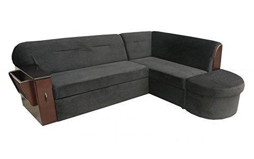 mb-moebel Ecksofa Sofa Eckcouch Couch mit Schlaffunktion und Bettkasten Ottomane L-Form Schlafsofa Bettsofa Polstergarnitur Benin I