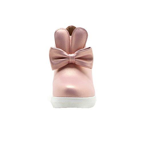 Voguezone009 Femmes Round Toe Talon Haut Pur Shimmer Pull Rose Ballerines