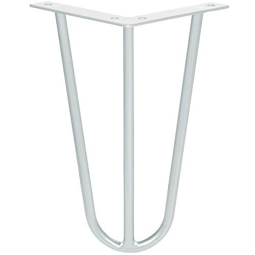 HOLZBRINK Haarnadel Tischbein 12 mm, 3-Stange Bein, Hairpin Leg aus Stahl, 40 cm, Verkehrsweiss, 1 Stück, HLT-13A-40-9016 -