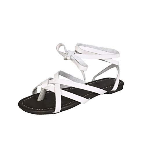 Frauen Gladiator Schnüren Flache Sandalen Kreuzgurt Tanga Flip Flops Komfortable rutschfeste Sommer Reise Strand Schuhe -