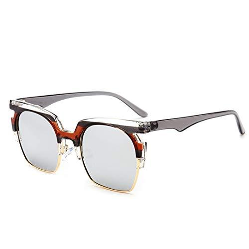WULE-Sunglasses Unisex Halb-randlose übergroße quadratische hape Sonnenbrille für Frauen Männer UV-Schutz für Outdoor-Driving-Urlaub. (Farbe : Sliver) -