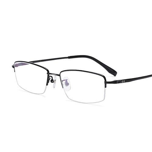 HAIBUHA Brille Ultraleicht Reines Titan Halber Rahmen Brillengestell Anti-Blaulicht Geschäft Flacher Spiegel Unisex (Farbe : Schwarz)