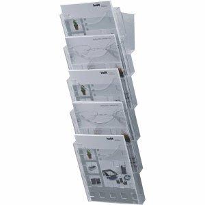 Helit H6103102 - Wandprospekthalter 'the grid wall' 5 x DIN A4, glasklar