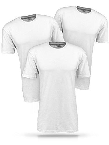 Casual Standard T-Shirt Herren 3er Pack Basic Rundhals-Ausschnitt Kurzarm Regular-Fit 100% Baumwolle Weiß XL