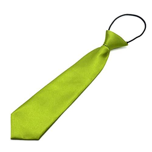 1997LM Jungen Kinder Baby Hochzeit Einfarbig Elastische Krawatte Boy School Tie ArmyGreen