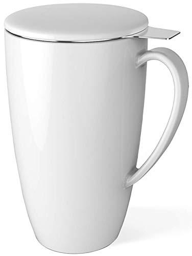 Sweese 201.101 Teetasse mit Deckel und Sieb, Becher aus Porzellan für Losen Tee Oder Beutel, Weiß, 400 ml - Große Tee-kanne Keramik