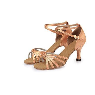 Silence @ Chaussures de danse pour femme en satin satiné Latin talons Stiletto Talon d'intérieur Browncl26-cl38 marron foncé