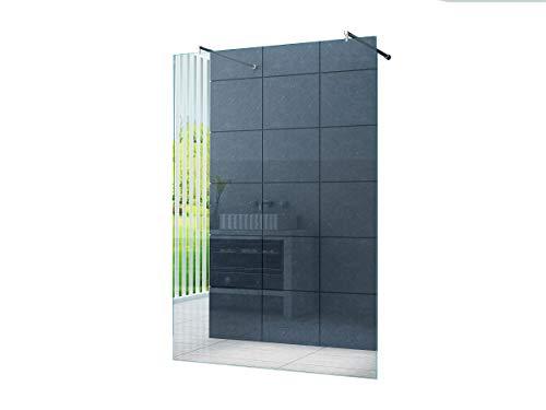 duschwand freistehend Freistehende 10 mm Duschabtrennung Düsseldorf 120 x 200 cm Klarglas/Walk-In Duschtrennwand Duschwand Dusche/Runde Haltestange