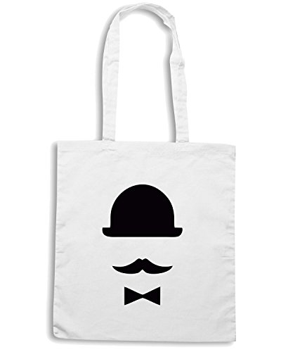 T-Shirtshock - Borsa Shopping TR0029 Bowler Hat Moustache Vintage Indie Geek Retro Bow Bianco