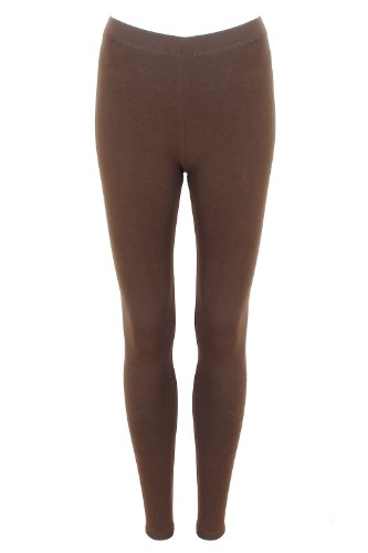 Womens chocolate brown Full Length Plain Stretch Leggings