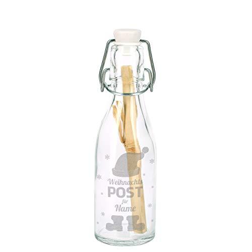 Herz & Heim® Weihnachtliche Flaschenpost mit A5 Marmorpapier mit Gratis Gravur Ihres Wunschnamens