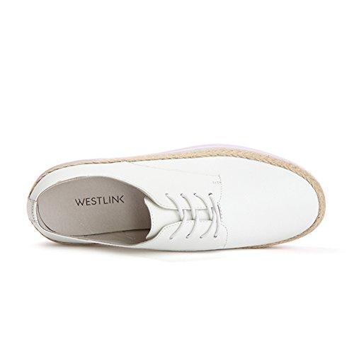 Autunno a maglia scarpe/Scarpe piatte rotondo/Scarpe casual pizzo/Scarpe da donna Bianco