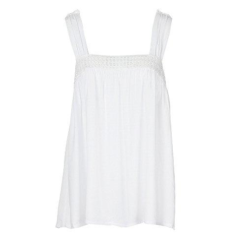 VEMOW Sommer Neue Kommende Elegante Damen Mädchen Frauen Camisole Slash Neck Lace Printed Plus Size beiläufige Tägliche Strand-Dünne Weste-Trägershirt-Lose T-Shirt Blusen-Pullover(Weiß, EU-54/CN-5XL) (Stück Stretch-spitzen-4)