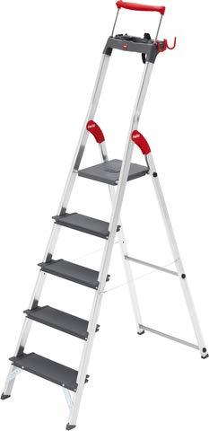 Hailo ProfiLine S225 XXR Alu-Stufenstehleiter (5 XXL-Stufen, Plattform-Verriegelung, belastbar bis 225 kg, Ablageschale, ausziehbarer Haltebügel) 8895-027